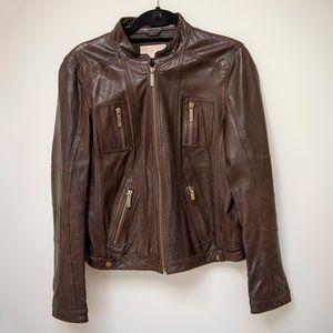 Michael Kors dark brown 100% leather jacket